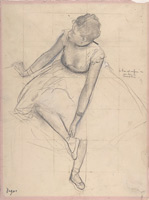 Балерина, поправляющая пуанты (Э. Дега)