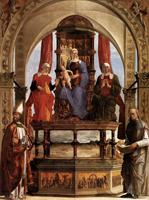 Мадонна с младенцем, святые Анна, Елизавета, Августин и Беато Пьетро дельи Онести (Эрколе де Роберти. 1481 г.)
