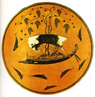 Эксекий. Килик Дионис в ладье. Роспись наружной стороны. Около 535 г. до н.э. Чернофигурный стиль