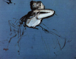Сидящая танцовщица в профиль с рукой на шее (Э. Дега, 1873 г.)