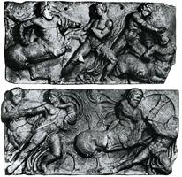 Битва лапифов с кентаврами. Фрагмент фриза храма Аполлона в Бассах. V в. до н.э. Лондон. Британский музей