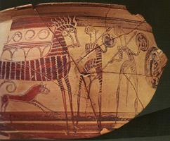 Ваза с изображением воинов и колесницы из Тиринфа. Национальный археологический музей, Афины (XIII в. до н.э.)