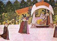Кришна и Радха в беседке (Школа Кишангарха)