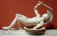 Сраженный воин (восточный фронтон храма Афины Афайи на о. Эгине. 490-480 гг. до н.э. Глиптотека, Мюнхен)