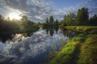 Пейзаж с солнцем и рекой (А. Коптелов)