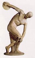 Дискобол (Мирон. Около 450 г. до н.э. Мраморная римская копия с утраченного бронзового оригинала. Рим. Музей Терм)