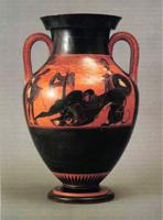 Геракл, убивающий Немейского льва (Псиакс, аттическая чернофигурная ваза. Италия. ок. 525 г. до н.э.)